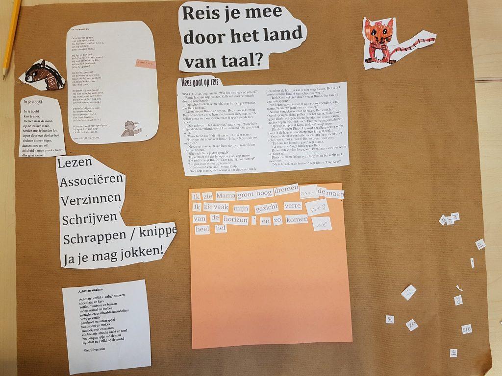 'Woordvangers' in groep zes van basisschool het Palet in Nieuw-Vennep. Het thema was reizen
